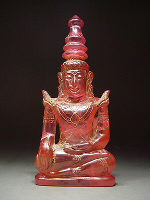 ANTIQUE PINK 'PHRA HIN' QUARTZ STONE CROWNED SEATED BUDDHA TEMPLE RELIC 18/19th