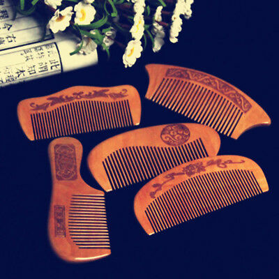 Natural Peach Wood Comb Close Teeth Anti-static Head Massage Hair Care Wooden