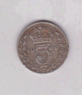 1906 Silver Three Pence Coin In Good Fine Condition