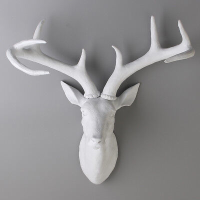 Modern Home Art Decor Resin Deer Head With Antlers Wall Mount Hang Ornament