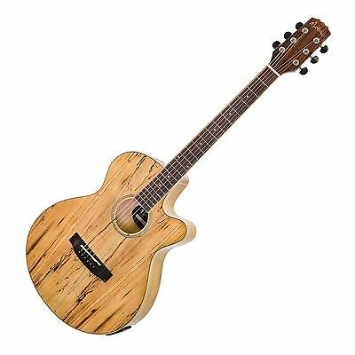 Martinez 40 Series Mosaic Spalted Maple Small Body Acoustic-Electric Guitar