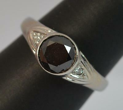 1.00ct Black Diamond 9ct White Gold Solitaire Ring d0671