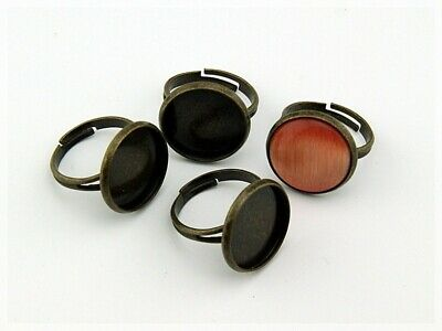 5 Ringrohlinge in antik Bronze für 16 mm Cabochon