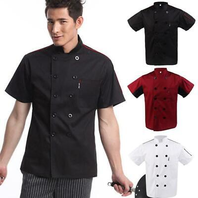 Unisex Mesh Sleeve Chef Coat Jacket Restaurant Hotel Cook Clothes Uniforms