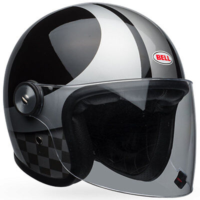 Bell Riot Checks Black Silver Motorcycle Open Face Jet Helmet All Sizes