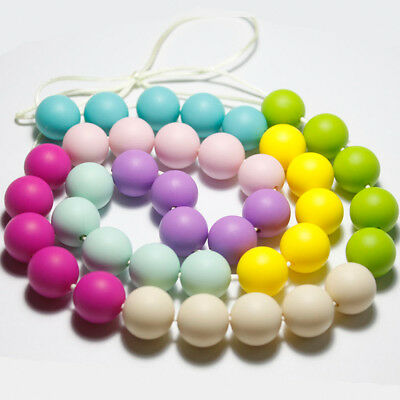 20pcs Round Baby BPA Free Silicone Teething Necklace Nursing Teether Beads Chain