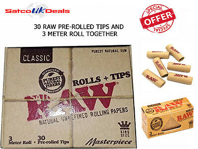 Masterpiece Raw Pre-Rolled Tips And 3 Meter Roll Roaches Paper Natural Rolling