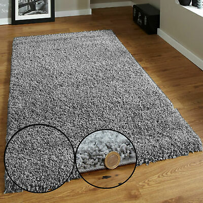 Luxury Grey Small Large Shaggy Rugs Super Soft Plain Carpet Bedroom Floor Runner