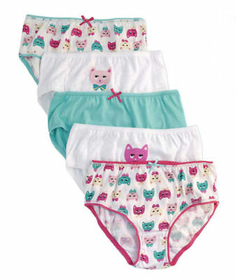 New 100% Cotton Girls Cats Briefs 5 Pack 2-8 Years