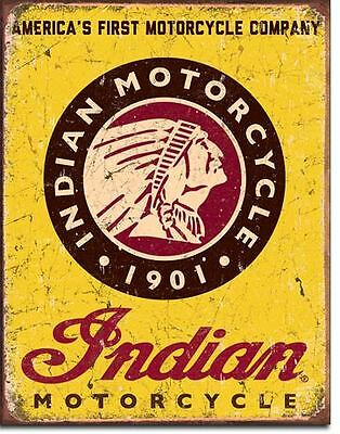 Indian Motorcycle 1901 Tin Sign Garage Shed Rustic