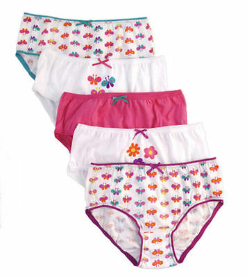 New 100% Cotton Girls Butterfly Briefs 5 Pack 2-8 Years