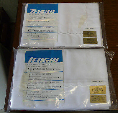Drap blanc + taie « TERGAL » ancien broderie 1 personne180 x 290 finis NEUF !
