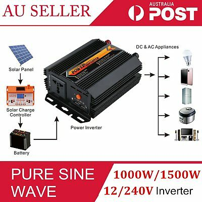 Pure Sine Wave Power Inverter 1000W 1500W 12V-240V LCD Display For Toyoto Mazda3