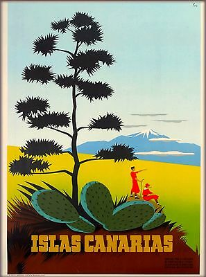 Canary Islands Islas Canarias Vintage Africa Travel Advertisement Poster Print
