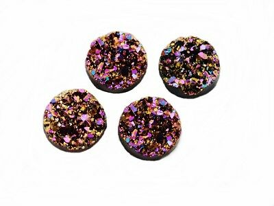 """4 Cabochons """"Eiskristalle"""" in rosa-gold, 12 mm"""