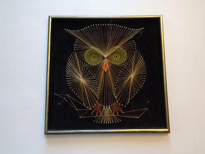 "Vintage Owl String and Nail Art Mid Century Modern Bird Framed 19"" x 19"""