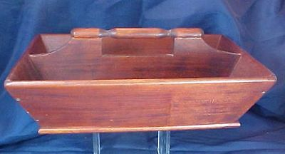 Antique Style Wood Utensil Tote Turned Handle Signed 1982