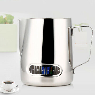 Stainless Steel Coffee Frothing Milk Tea Latte Jug with Thermometer 600ML