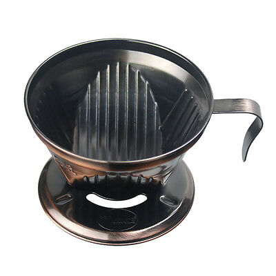 Stainless Steel Pour Over Cone Dripper Reusable Coffee Filter Handle Bronze