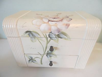 Stunning Wooden Large Shabby Chic Roses Jewellery Box
