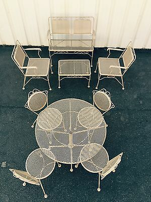 Vintage Wrought Iron Mid Century Patio Furniture Set 9 Pc Great Ice Cream Design