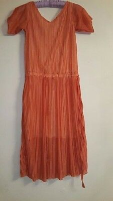 Home Made Vintage Style Size 10/ 12 Orange Pleated Cap Sleeve Dress #SP 1913