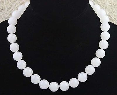 Rare 14mm Natural White Jade Round Gemstone Beads Necklace 18''