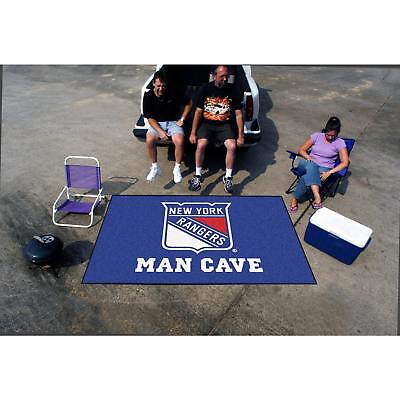 Fanmats Machine-made New York Rangers Blue Nylon Man Cave Ulti-Mat (5' X 8')