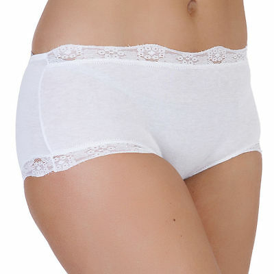 NEW Ladies Pack of 2 White Cotton Luxury Midi Briefs with Lace