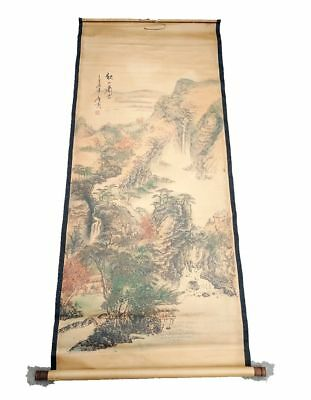 Rare antique chinese museum painting scroll Landscape map