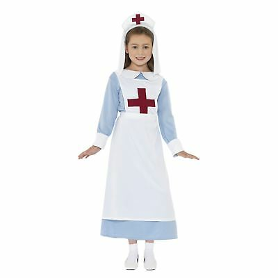 Girls WW1 Nurse Costume with Headpiece Wartime Kids Cute Medic Fancy Dress