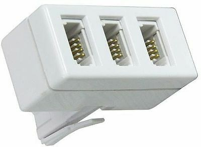 Telephone Socket Triple Way Phone Adaptor 3 Way Land Line Converter Splitter