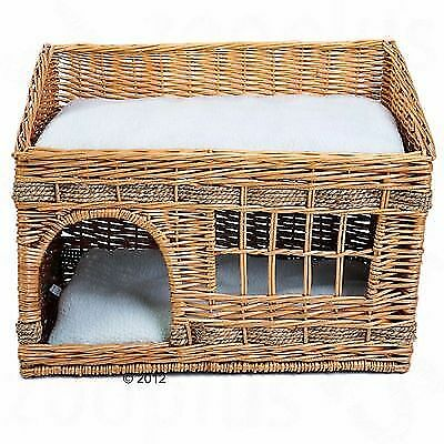 Cat House Bed Basket Pet Double Home Wicker Cushions Kitten Cosy Sleeping Nest