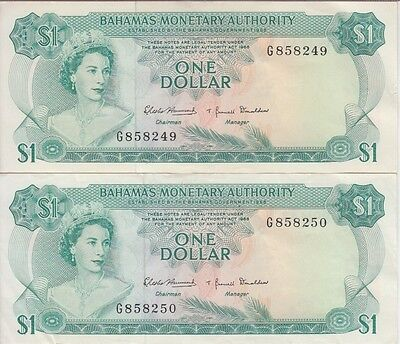 Bahamas P# 27  1 Dollar Two Signatures Two Consecutive Numbers Extremely Fine