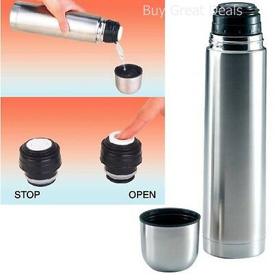 1 Liter Vacuum Stainless Steel Hot Chocolate Tea Coffee Bottle Thermos NEW