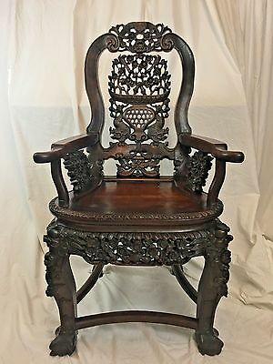 Chinese Hardwood Armchair, Chair, 19th Century, Qing Dynasty, Bats, Claw Feet