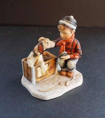 Norman Rockwell's Figurine Four Seasons Winter A Boy Meets His Dog Gorham 1958
