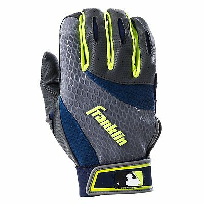 Franklin MLB 2nd Skinz Adult & Youth Baseball Batting Gloves Gray-Navy pair