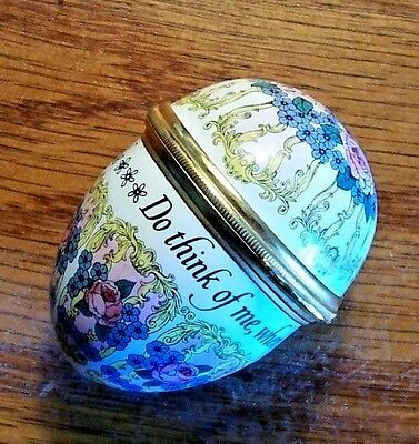 Halcyon Days 'Think Of Me… Enamel Egg No Box Excellent Condition