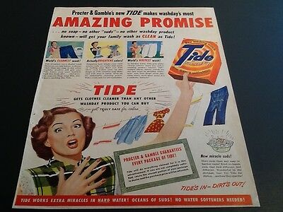 1949 TIDE Washing Detergent P&G Dirt's OUT VIntage magazine print AD