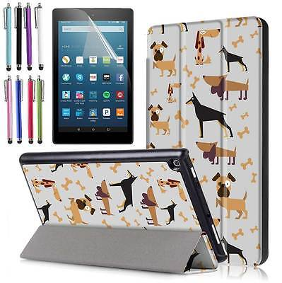 For Amazon Kindle Fire HD 8 8th 2018/HD 8 7th 2017 Flip Leather Stand Cover Case