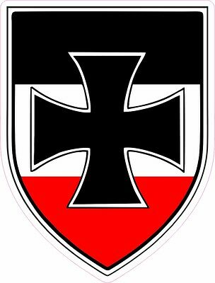 Iron Cross Shield With Former Imperial German Colours Laminated Vinyl Sticker