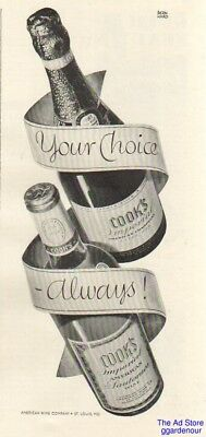 1942 Cook's Imperial Champagne~American Sauternes Wine St Louis MO Bernhard Ad