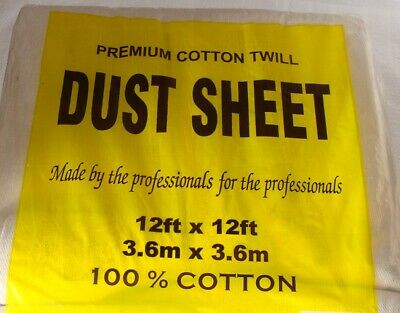 3 x 3.2m x 2.5m LARGE PROFESSIONAL 100% COTTON TWILL DUST SHEETS DECORATING