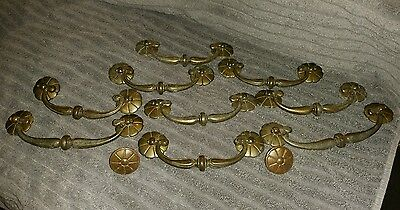 """SET of 11  UNIQUE Antique Cast Brass Ornate Drawer Pulls """"VERY NICE"""""""