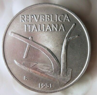 Italy Bin #E AU FREE SHIP Great Short Lived Type Coin 1954 ITALY 2 LIRE