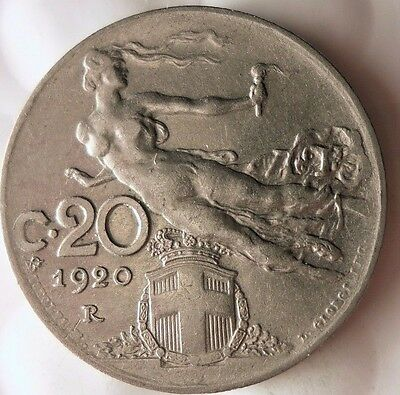 1920 ITALY 20 CENTESIMI - Rare Collectible Coin - FREE SHIPPING - Italy Bin #B