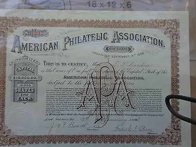AMERICAN PHILATELIC SOCIETY Stock Certificate, STAMPS,  DATED JANUARY 1898