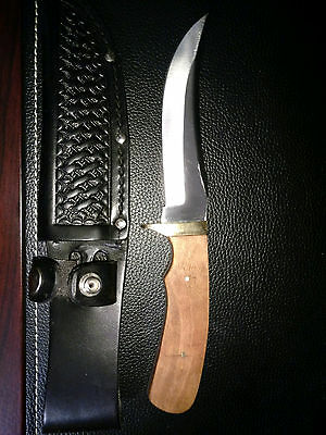 Handcrafted cherry wood handle fixed blade knife with 4 7/8 inch curved blade