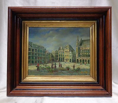 German Style Architecture Oil Painting on Wood Panel in Wooden Vintage Decor FRM